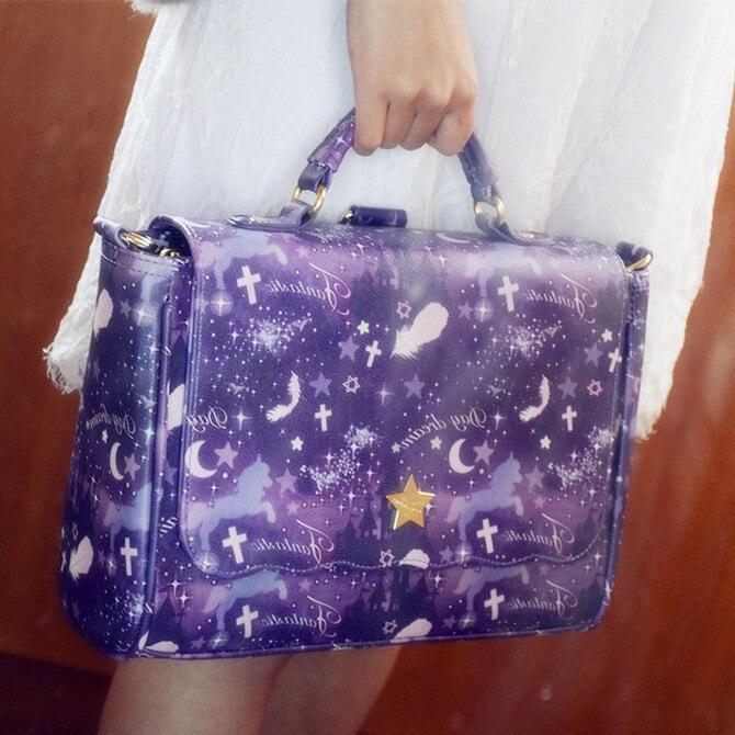 3 façons doux Lolita petit frais étoilé licorne sac à bandoulière JK sac à main Harajuku mignon