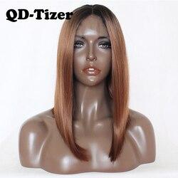 QD-Tizer Bruin Bob Haar Pruik Korte Rechte Synthetische Lace Front Pruik Lijmloze Ombre Bruin Lace Front Pruiken Voor zwarte Vrouwen