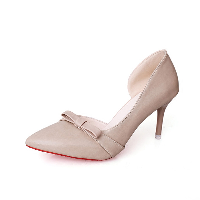 Slipony women 8cm high heels shoes pointed toe Fashion Female bow Slip on lady two piece woman D'orsay pumps pink Beige black footwear women pumps fashion shoes sexy elegant squaretoe slip on med heels office lady woman shoes black beige red green color