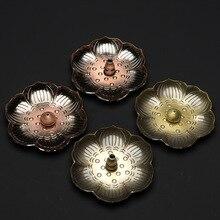 PINNY Creative Lotus Root Alloy Incense Holder Metal Stick Burner Buddha Decor Meditation Sandalwood Base