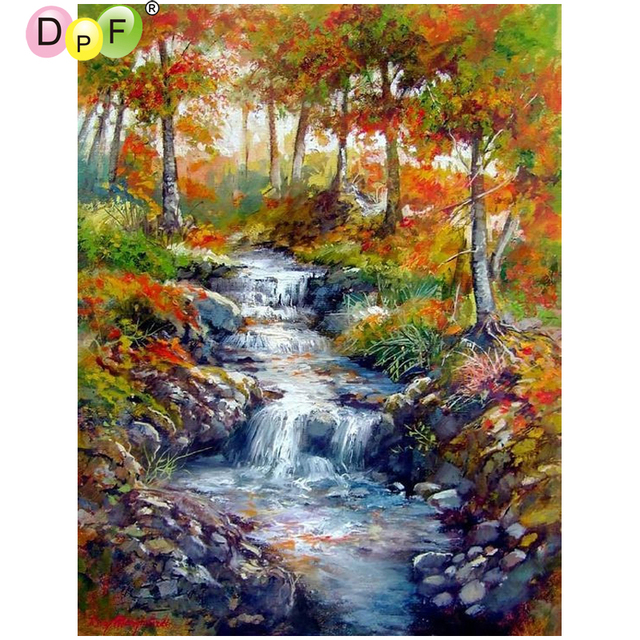 Us 5 33 40 Off Dpf Diy Jungle River 5d Diamond Mosaic Square Diamond Painting Cross Stitch Home Decor Wall Painting Diamond Embroidery Crafts In