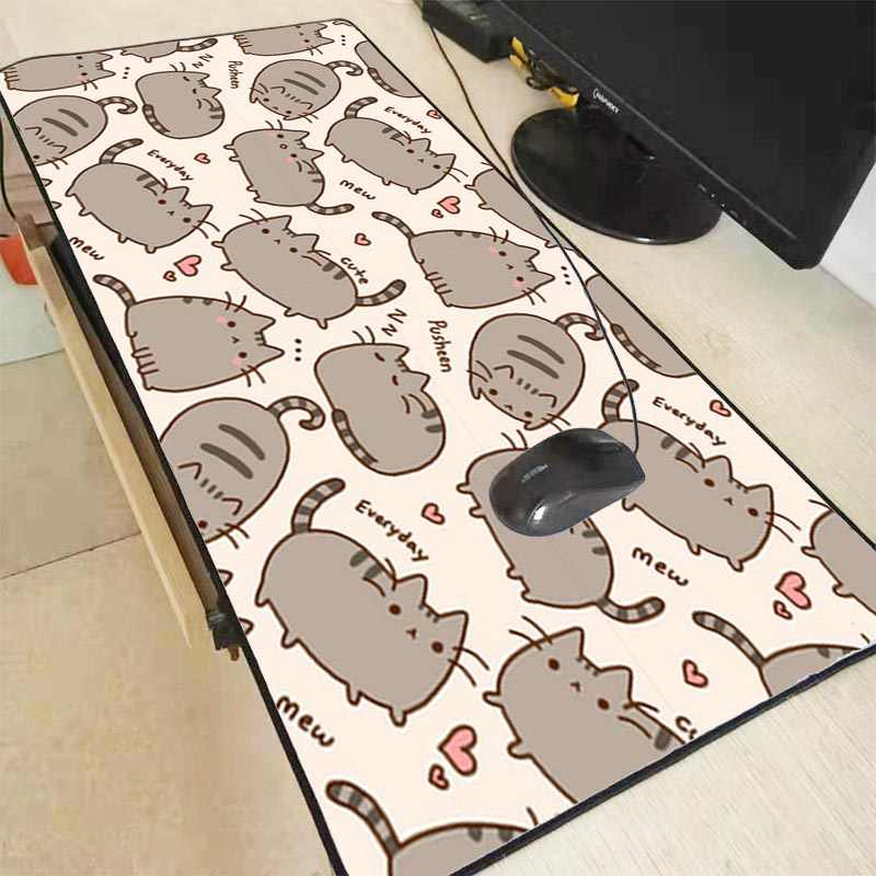 Mairuige 90X40CM Kucing Lucu Besar Gaming Mouse Pad Gamer Lock Edge Keyboard Mouse Mat Gaming Meja Mousepad For CS: GO LOL Game Dota