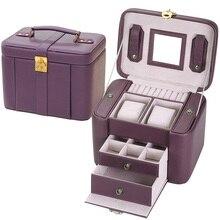 Корея стиль шкатулки деревянный каркас структура коробка для ювелирных изделий высокого класса кожаные ювелирные изделия гонка 5 цвет