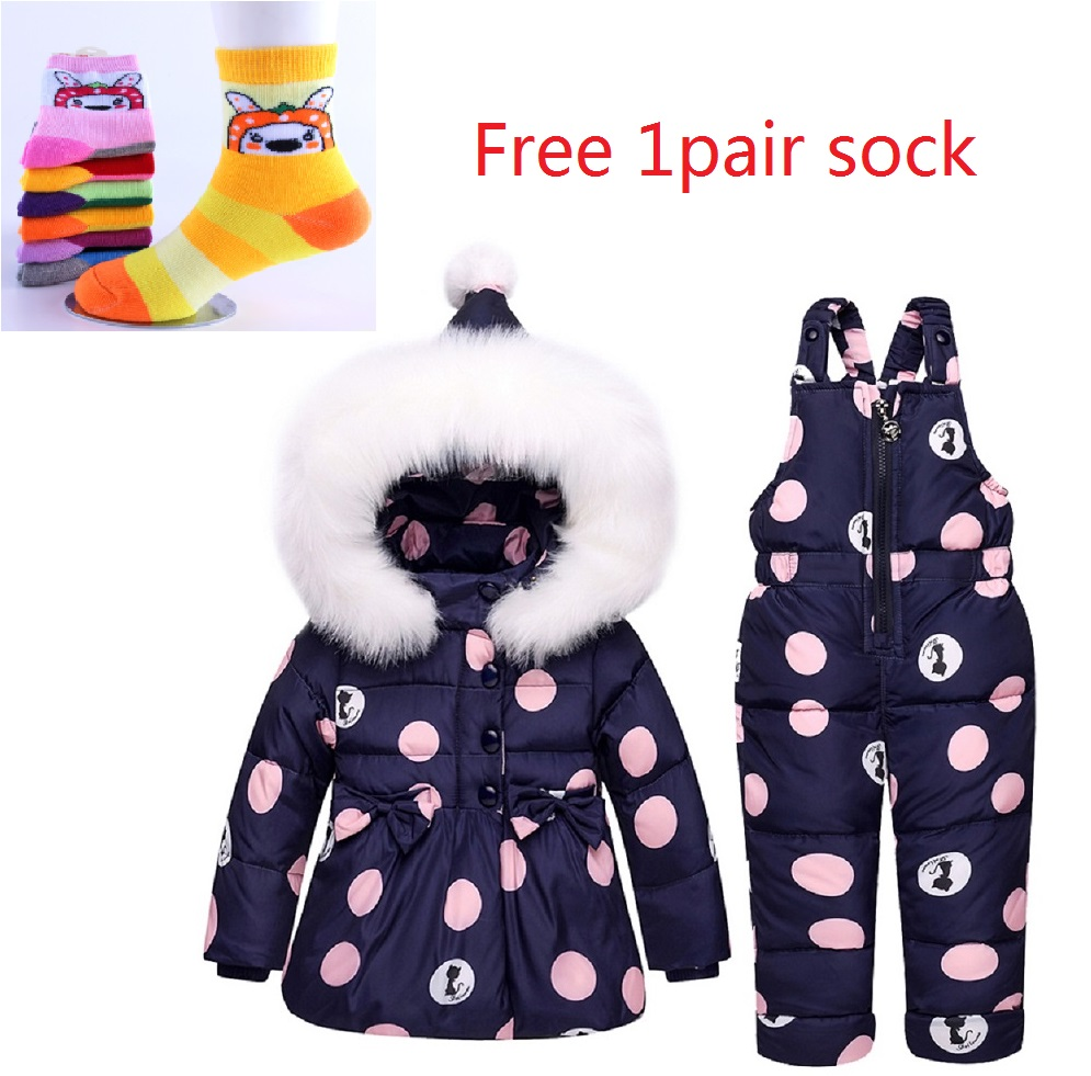 Keygold  Children Girls Clothing Sets Winter hooded Duck Down Jacket + Trousers Waterproof Snowsuit Warm Kids Baby Clothes +gift 2016 winter boys ski suit set children s snowsuit for baby girl snow overalls ntural fur down jackets trousers clothing sets