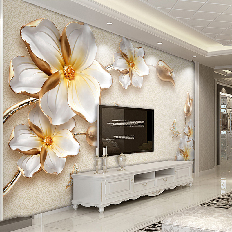High Quality Deep Texture Relief 3D Murals Golden Flowers Jewelry Luxury Photo Wallpaper Living Room Hotel Backdrop Wall Fresco
