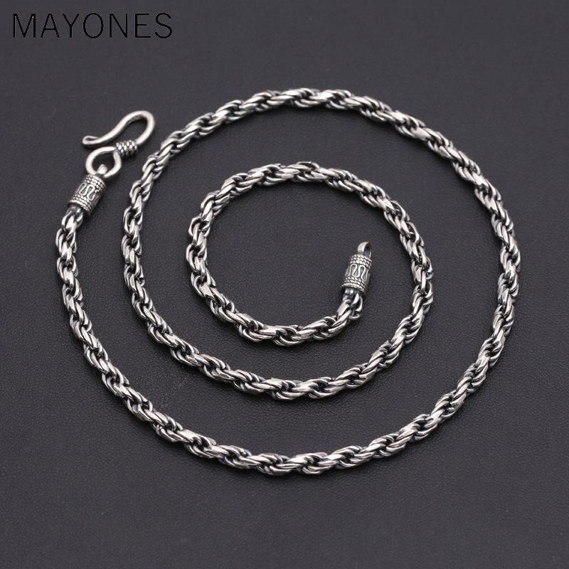 4mm largeur chaîne torsadée 925 en argent sterling collier pendentif pour femmes hommes Vintage bijoux offre spéciale