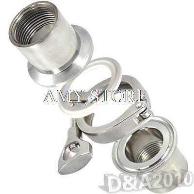 1 Pair 1/2 BSP SS304 Sanitary Female Pipe Fitting + TRI CLAMP 1.5 +PTFE Gasket 6 pcs white ptfe teflon tri clamp gasket 1 1 2