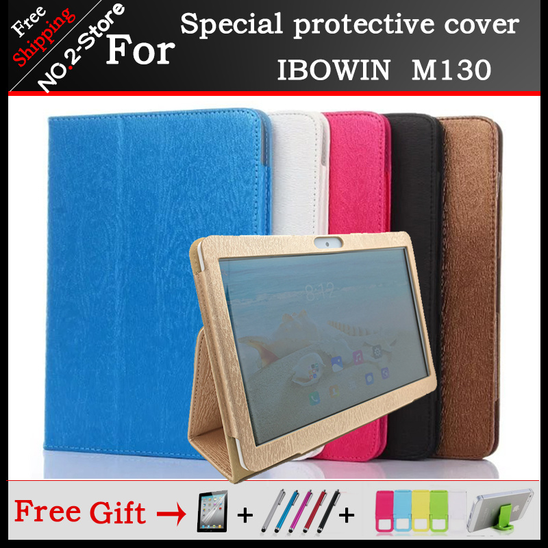 Fashion 2 fold Folio PU leather Stand case For IBOWIN M130 MTK6580 Quad core 10.1inch tablet 6 colors optional+Protective film image