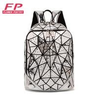 New Women Geometric Luminous Glowing Sequins Female Laptop Backpack Women School Backpacks For Teenage Girls mochila feminina
