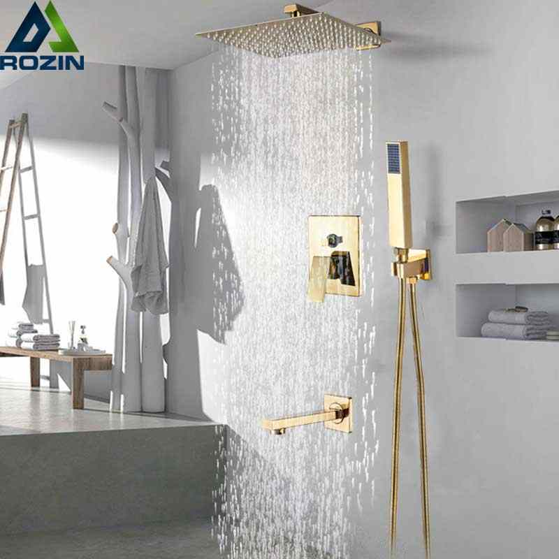 "Golden Rainfall  Shower Faucet Set Wall Mount Stainless Steel 8/10/12""  Head Shower Mixer Tap Conceealed Install Bath Shower Tap"