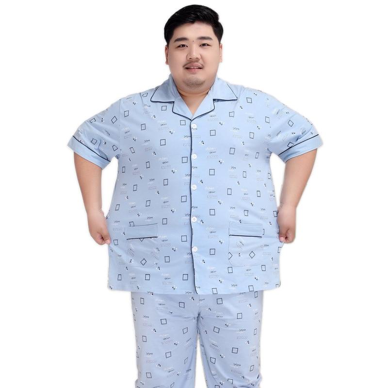 Trousers Sleepwear Pyjamas Short-Sleeves Men Casual 100%Cotton 5XL Plaid For 140KG Plus-Size