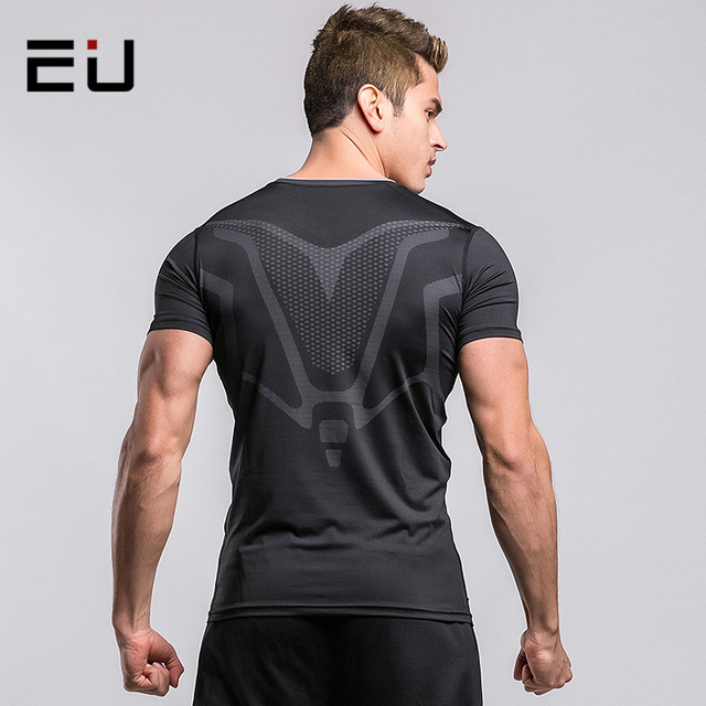 35648026d11c EU Men s Compression Shirts Mens Running T-Shirt Quick Dry Gym Sport T-Shirts  Men Fitness Top Dry Fit Breathable Running Shirts