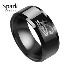 8mm Size 7-13 Movie Stainless Steel Eye of Horus Mens Rings Punk Black Egyptian Finger Rings Wedding Bands Party Jewelry(China)