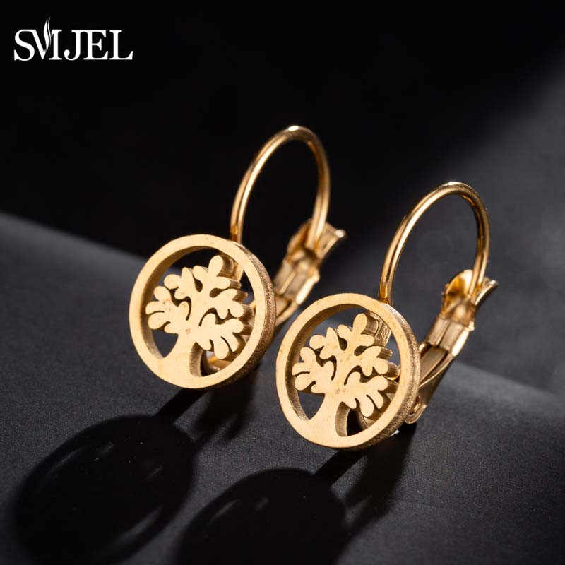 SMJEL New Tree of Life Stainless Steel Earrings for Women Fashion Pierced Earrings Hoops Family Plant  Jewelry Gifts