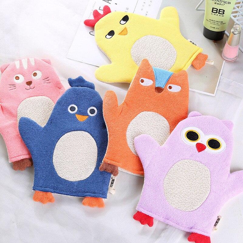 New Animal Fox Penguin Cartoon Soft Baby Bath Brush Newborn Baby Shower Glove Kid Necessary