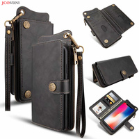 JCOVRNI Luxury multifunction leather wallet for iphone7 7plus 8 8plus full fit 4.7 inch in 5.5 inch wallet phone back cover case