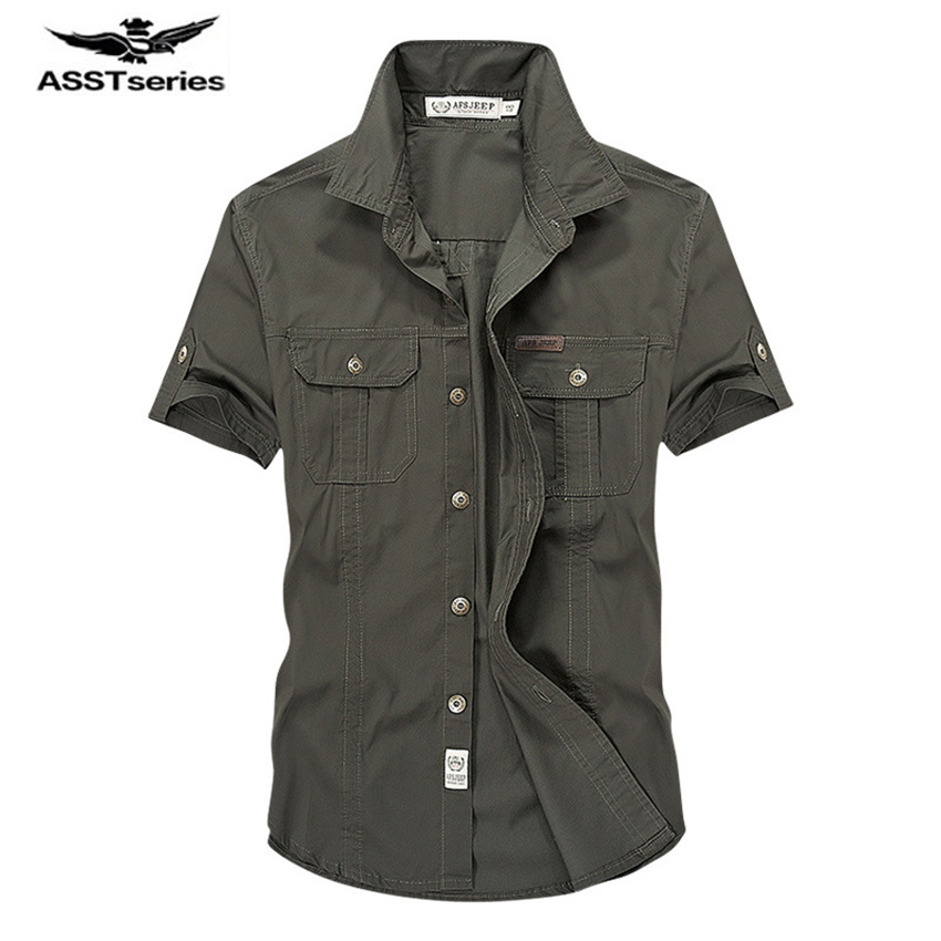 2019 AFS JEEP Summer Men's 100% Cotton Shirts Solid Color Dress Short Sleeve Shirts Casual BEST SELL Man Brand CLOTHES 62