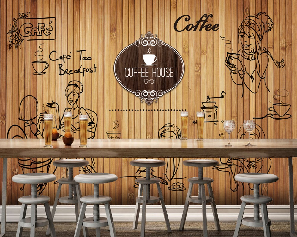 Free Shipping Afternoon Tea Shop Fashion Mural Custom 3D Wallpaper Vintage Scandinavian Style Cafe Dining Restaurant Wallpaper free shipping retro brick pattern wallpaper wood sign license plate auto shop coffee restaurant wallpaper mural