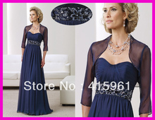 Exquisite Royal Blue Beaded Chiffon Long Sleeves Mother of the Bride Dresses With Jacket M099