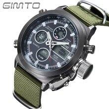 141201db264 Homens Do Esporte da forma Relógio GIMTO Lona Verde LED Digital Dual Time  Masculino Chrono relógio