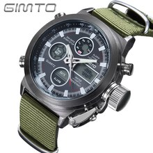Fashion Sport Men Watch Green Canvas GIMTO LED Digital Dual Time Male Wristwatch Chrono Waterproof Military Army Outdoor Clock
