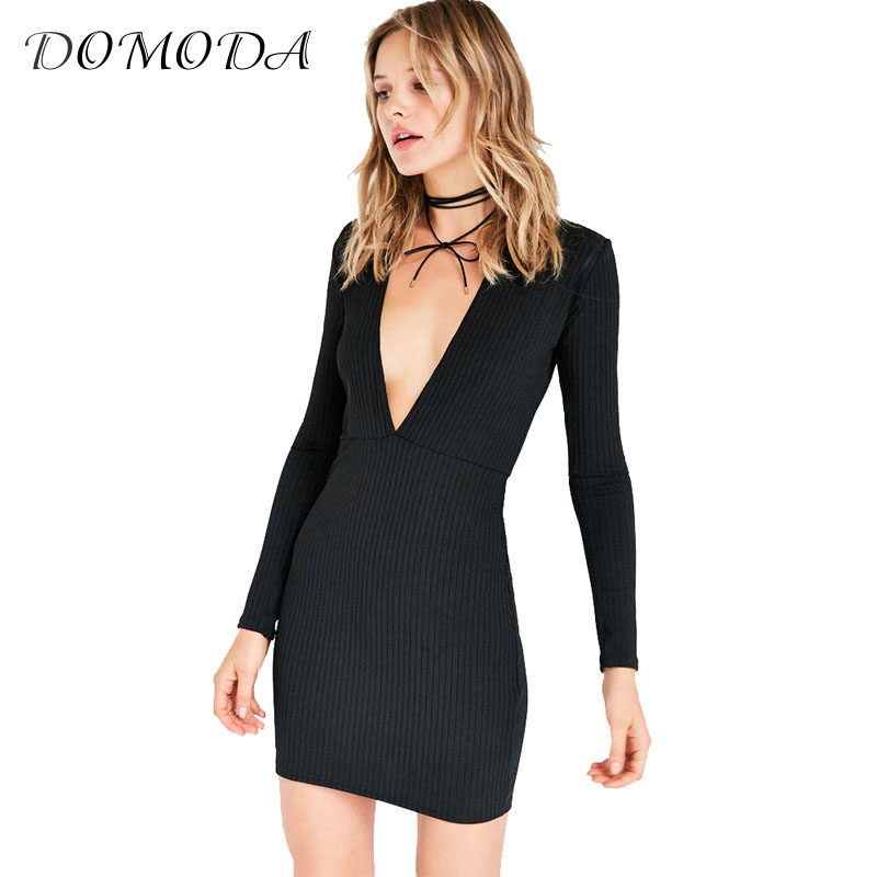 DOMODA 2017 Fashion Summer Dress Women Sheath Solid Black Bodycon Dress Brief Full Sleeve V-Neck knitted Mini Vestidos Female женское платье summer dress 2015cute o women dress