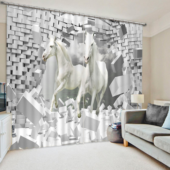 brick horse Curtains Decoration European 3D Curtains For Living room Blackout Roaantic Wedding room Bedroom