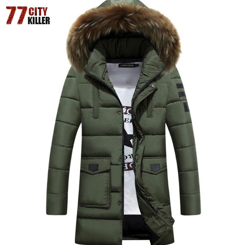 New 2018 Thick Warm White Jacket Men Long Hooded   Parkas   Men Plus Size 3XL Fur Collar Business Cotton Jackets Coats   parkas   hombre