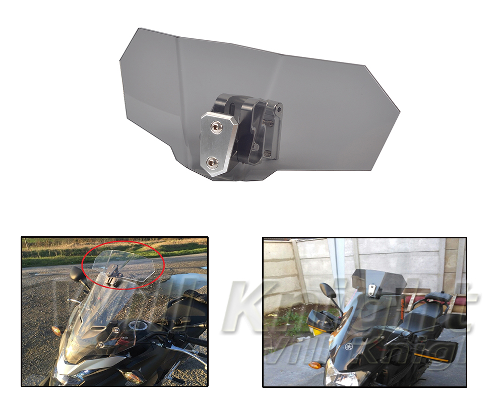 Adjustable Clip On Windscreen Windshield Extension Spoiler Wind Deflector Adjustable Lockable For Motorcycle ...