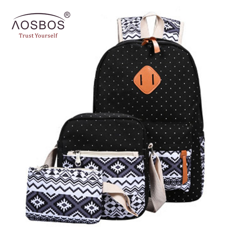 Aosbos 3Pcs/set Stylish Printing Canvas School Bags For Teenage Girls Vintage Geometric Pattern Female Backpacks Mochila Escolar