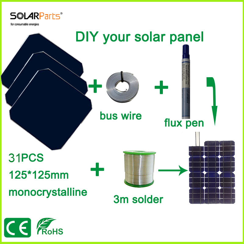 Solarparts DIY solar panel kits with 125*125mm monocrystalline solar cell use flux pen+tab wire+bus wire for DIY 90W Solar Panel thin films for solar cell applications