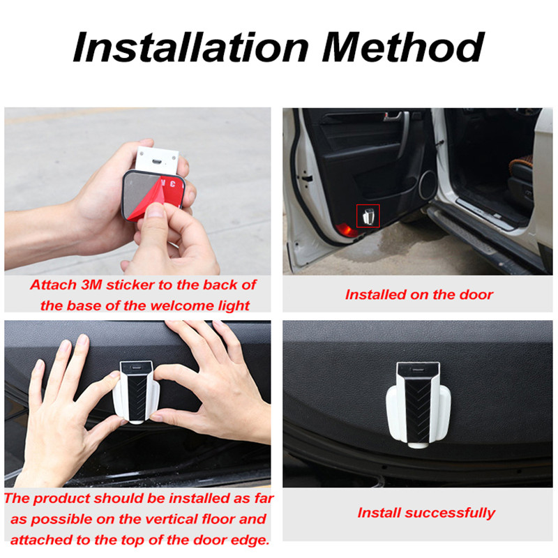 rechargeable LED car welcome logo light wireless