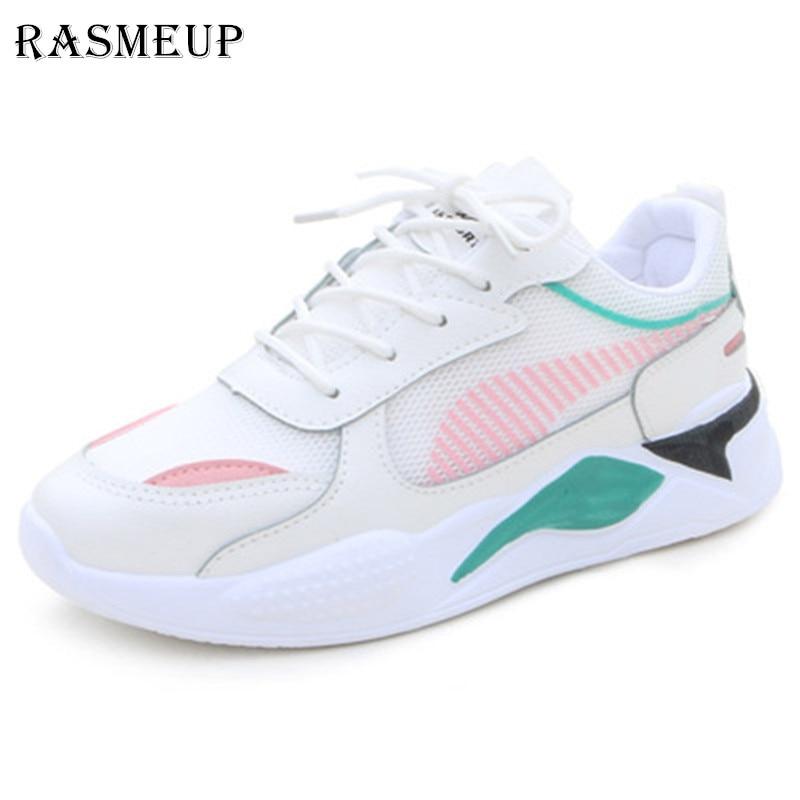 RASMEUP Leisure Light Sneaker Women Shoes 2019 Spring Summer Lightweight Ventilate Elastic Wearable Woman Footwear Lady Trainers