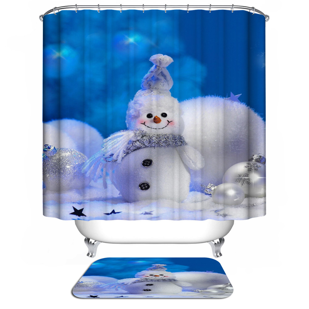 New Santa Claus Bathroom Curtain snowman sliding bath curtain Christmas Shower Curtain 3d Modern Waterproof Fabric curtains hook-in Shower Curtains ...