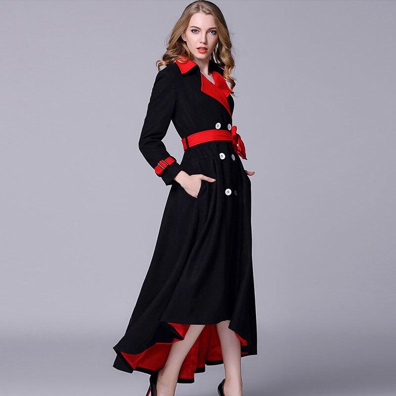 Women Fashion Black High Low Dress Coat Wool High Quality Irregular Cashmere Blend Coat Female Winter
