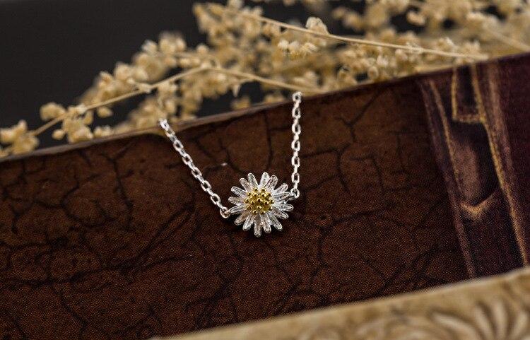 S925 sterling gioielli in argento sole piccolo fiore della margherita braccialetto femminile squisito romantico di modo selvaggio regalo dei monili BCF07