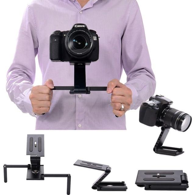 2 in1 Camera Fold Z Tripod Pan Tilt Ball Head Desktop Stand Holder & Handheld Video Stabilizer Steadicam for DSLR