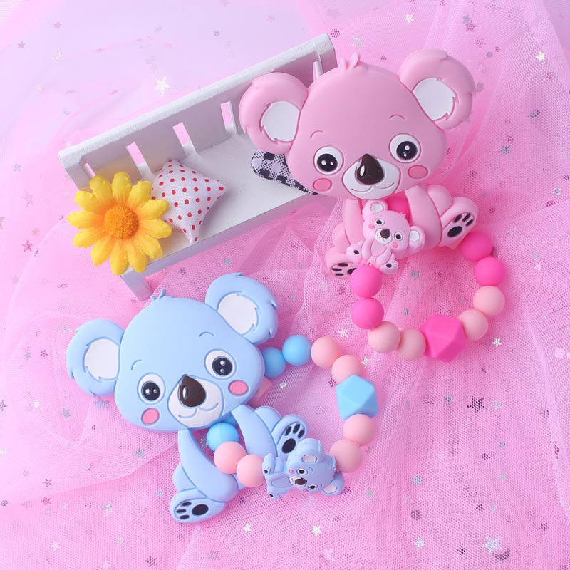 Food Grade Silicone Teethers Infant Baby Silicone Chew Charms Kids Teething Gifts Toddler Toy DIY Animal Koala Baby Ring Teether (7)