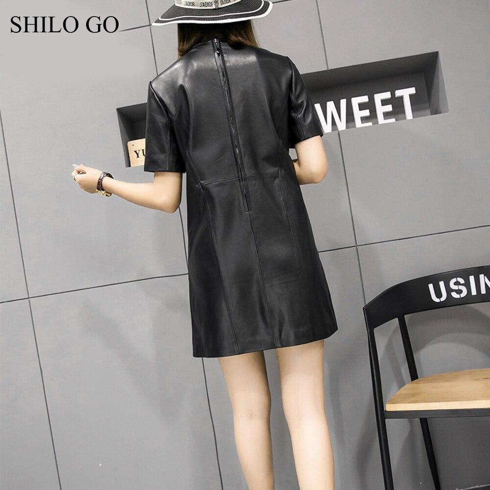 Shilo Courtes De Mode Glissière Aller Cou Manches Noir O Ol Robe Peau Hiver En Véritable À Femmes Bureau Mouton Cuir KTcJ1lF
