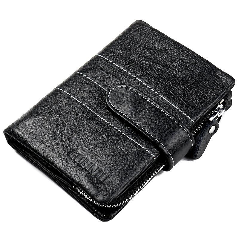 100% Genuine Leather Wallets Brand Vintage Zipper Cowhide Leather Short Bifold Black Mens Wallet Purse Card Holder Organizer