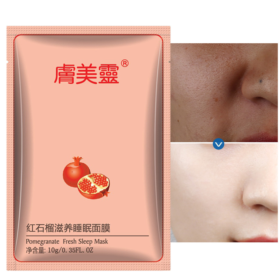 LAIKOU 10g Face Mask For Face Sheet Facial Mask Acne Moisturizing Whitening No-Wash Sleep Masks Oil Control Red Pomegranate Skin image