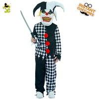 Böse Narr Kostüme Jungen Scary Clown Mörder Rolle Spielen Outfit Kinder Party Kinder Halloween Grim Buffon Cosplay Kleidung