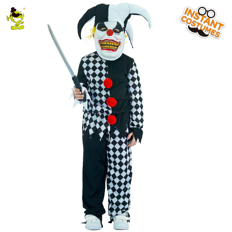 buy evil jester costumes boys scary clown killer role play outfit children party children halloween grim buffon cosplay clothes from