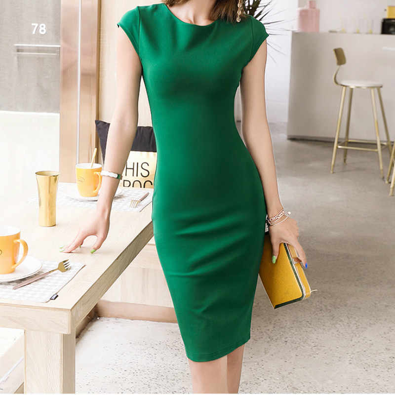 Women Fashion Dress Solid Color O-neck Short Sleeve Slim Pencil Mid Dress High Quality Female Vestidos Robe Femme 2019 New