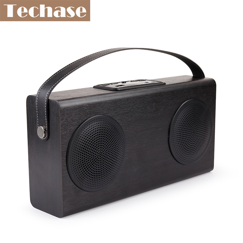 Techase Parlantes Bluetooth Subwoofer Power Bank Function Speaker Portable Handsfree MP3 Player Wooden Design FM Radio AUX-IN 4 in 1 multifunction bluetooth v2 1 speaker handsfree calls led flashlight power bank black
