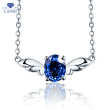 18K White Gold Natural Sapphire Necklace Pendant  For Women Luxury Angel Jewelry  WP065