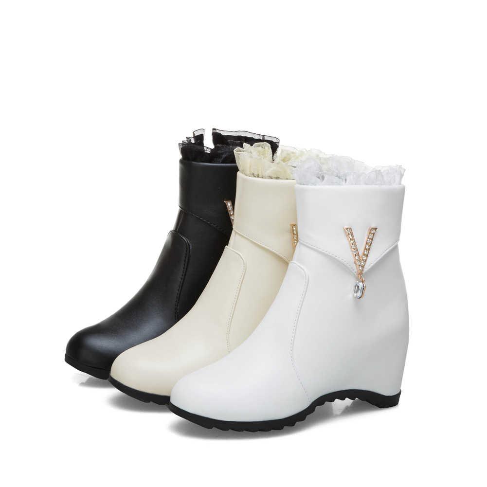 BONJOMARISA 2019 ฤดูหนาว Elegant Big ขนาด 33-43 ผู้หญิงข้อเท้ารองเท้าเพิ่ม Fur ความสูงที่เพิ่มขึ้นรองเท้าผู้หญิง