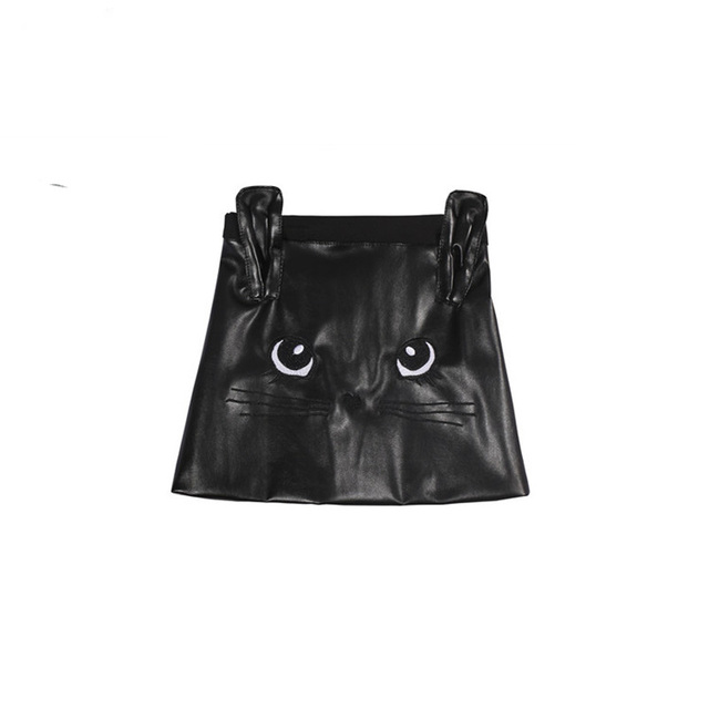Brand Winter/Autumn Girls Clothing  PU Leather black cat cartoon design skirt 1-12 years toddler girls clothes