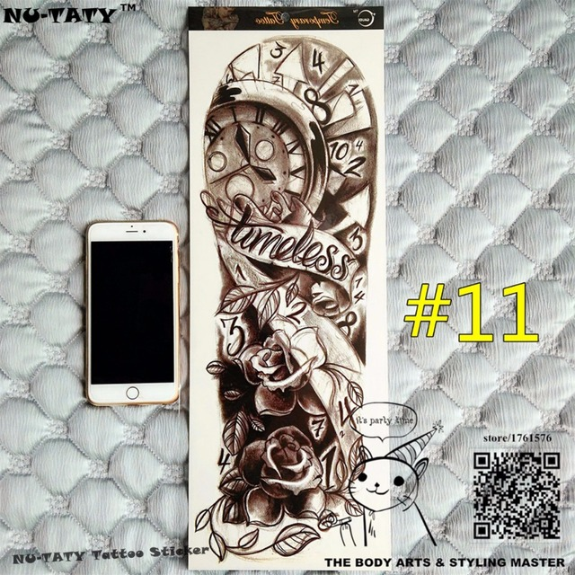 """Nu-TATY """"The Lost Of Time"""" Full Sleeve Arm Temporary Body Art, Flash Tattoo Stickers 48x17cm Waterproof Sex Products Henna Adult"""