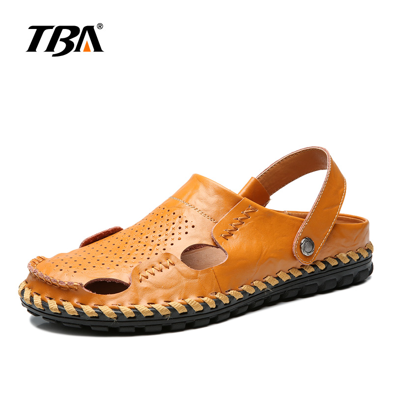 2018 Fashion Genuine Leather Shoes Men Summer Comfortable Flat Men Sandals Brown Casual Rubber Breathable Beach man Sandals 1717